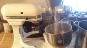 My trusty KitchenAide mixer with Grain Mill attachement